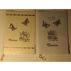 Ruusu ja perhoset -onnittelukortit