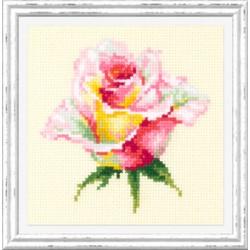 Kukkiva ruusu-ristipistotyö